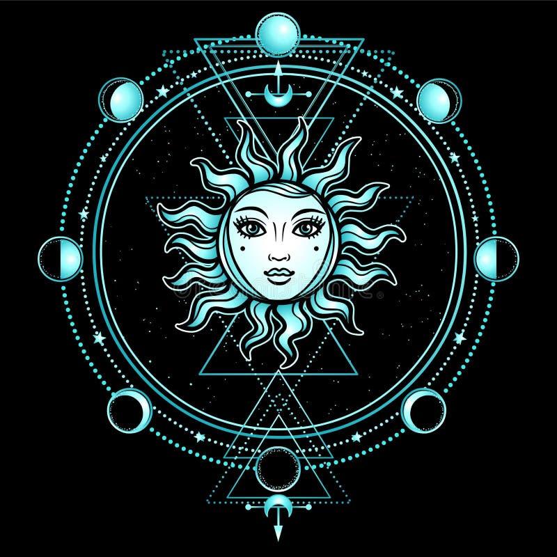 Mystieke tekening: de zon met een menselijk gezicht, heilige meetkunde, fasen van de maan vector illustratie