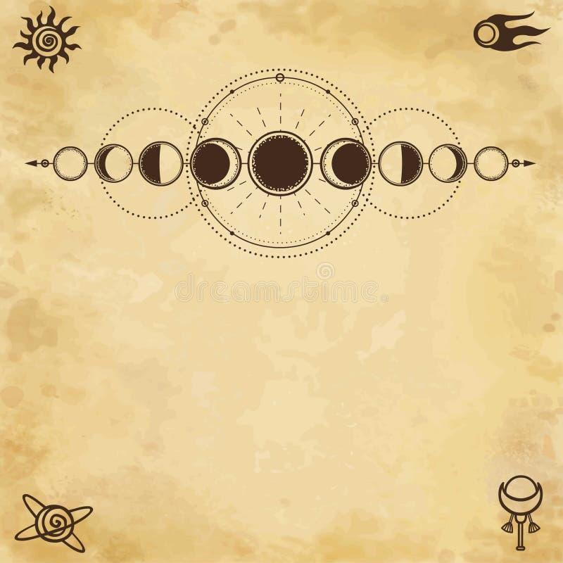 Mystieke tekening: fasen van de maan, energiecirkels Heilige Meetkunde royalty-vrije illustratie