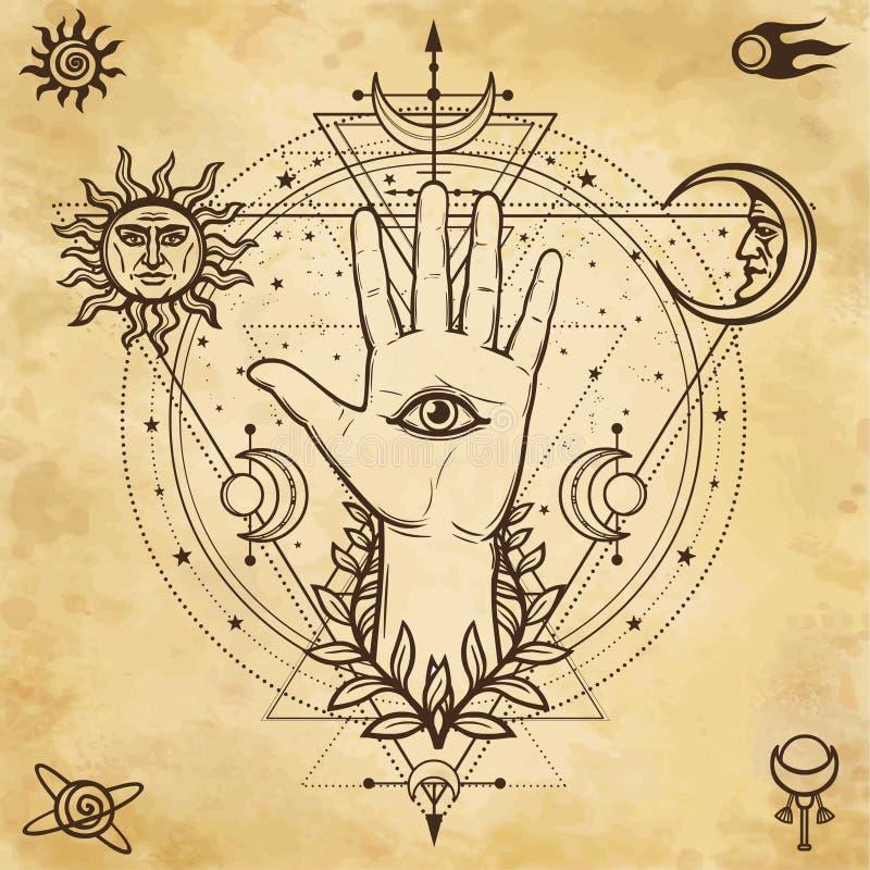 Mystieke tekening: goddelijke hand, alle-ziet oog, cirkel van een fase van de maan vector illustratie