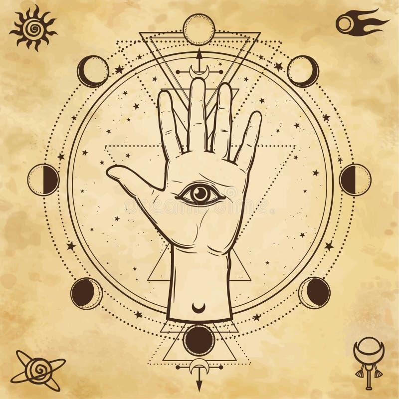 Mystieke tekening: goddelijke hand, alle-ziet oog, cirkel van een fase van de maan royalty-vrije illustratie