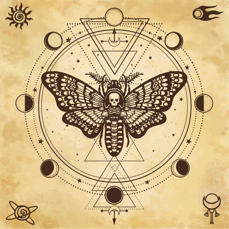 Mystieke tekening: Motten Dood Hoofd, cirkel van een fase van de maan Heilige Meetkunde stock illustratie