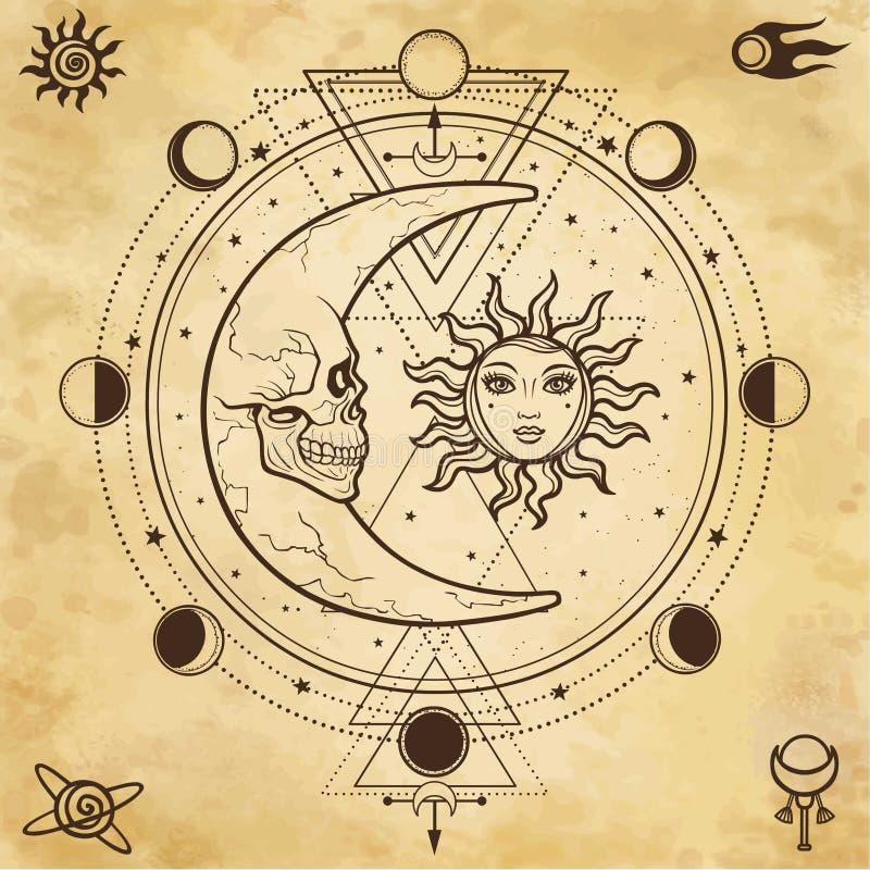 Mystieke tekening: zon en maan met menselijke gezichten, cirkel van een fase van de maan royalty-vrije illustratie
