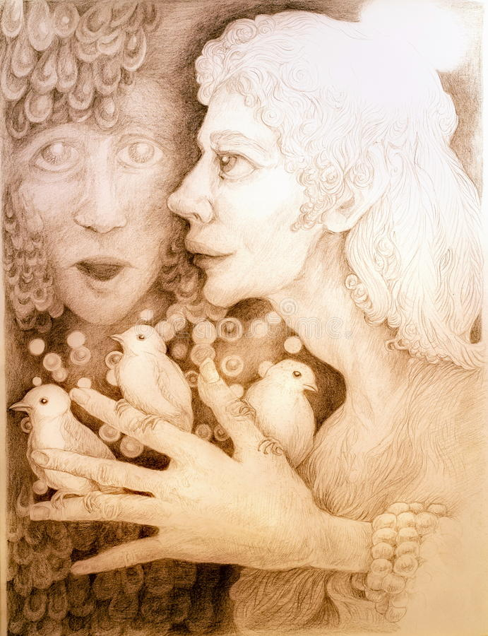 Mystieke vrouw die met drie vogels op haar vingers aan heilig lied luisteren vector illustratie
