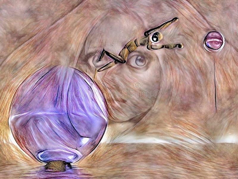 Mystikerflickaframsida stock illustrationer