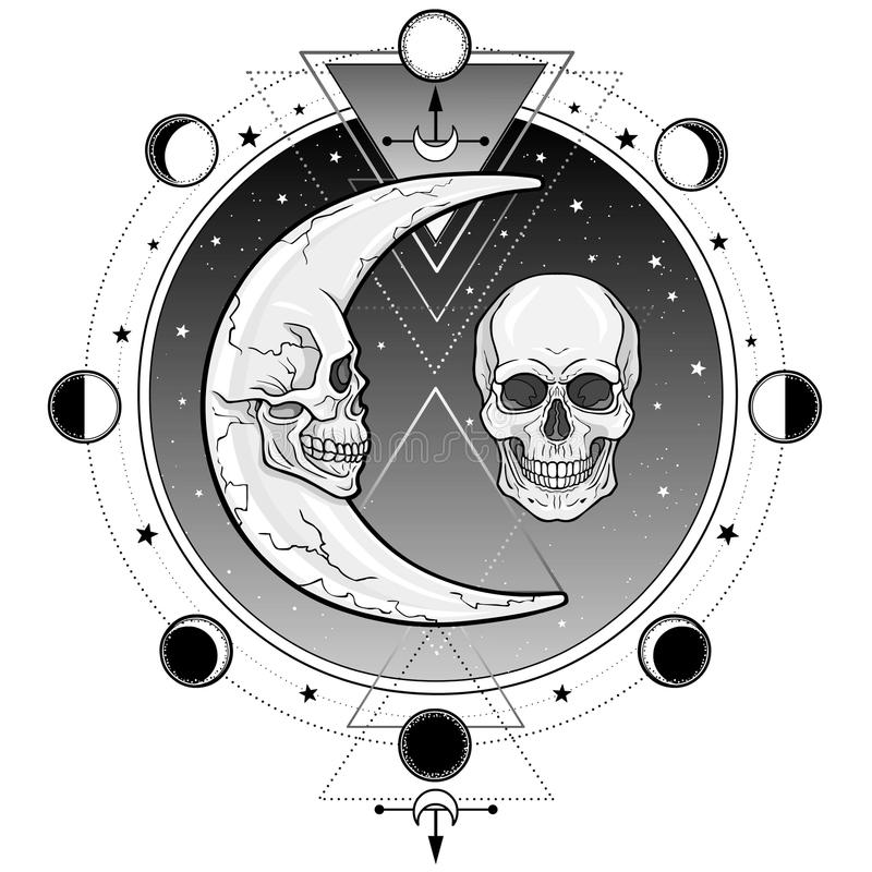 Mystische Symbole: der Mond und der Monat in Form von menschlichen Schädeln Heilige Geometrie lizenzfreie abbildung
