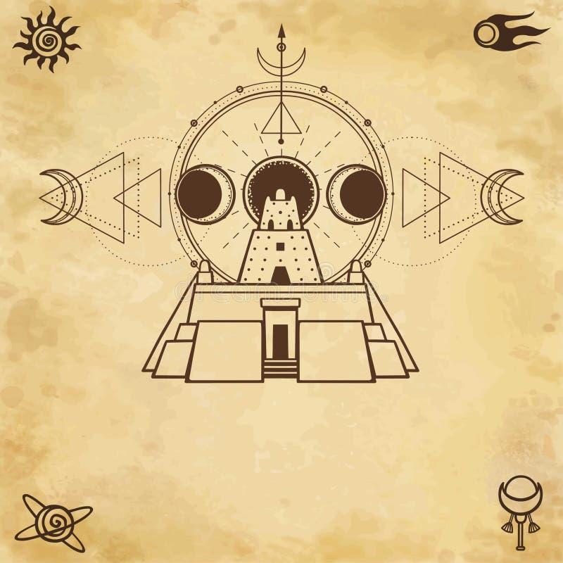 Mystische Zeichnung - altes ziggurat, Mondphasen stock abbildung