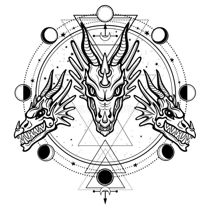 Mystische Zeichnung: Animationskopf eines Drachen Raumsymbole vektor abbildung