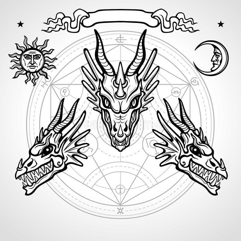 Mystische Zeichnung: Animationskopf eines Drachen vektor abbildung