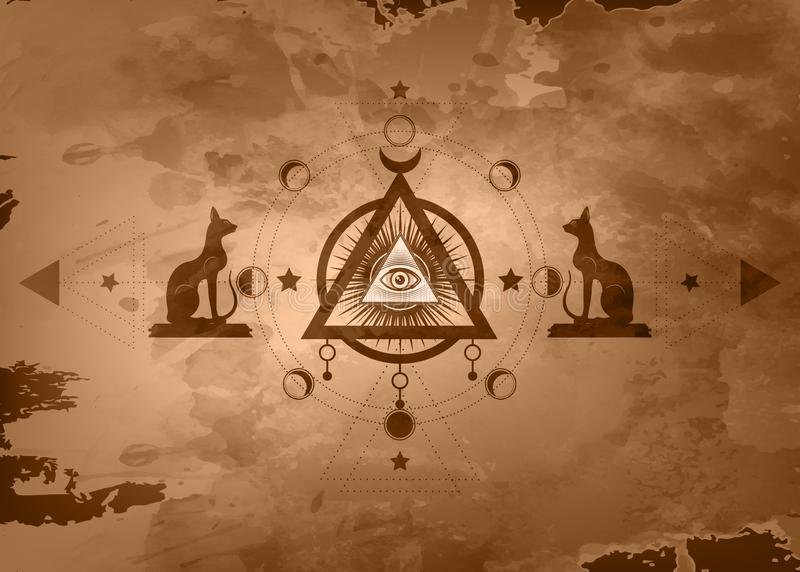 Mystische Zeichnung: das dritte Auge, Auge gesamt-sehend, Kreis einer Mondphase Heilige Geometrie und ägyptische Katzen Bastet al stock abbildung