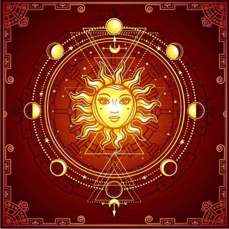 Mystische Zeichnung: die Sonne mit einem menschlichen Gesicht, heilige Geometrie, Mondphasen vektor abbildung