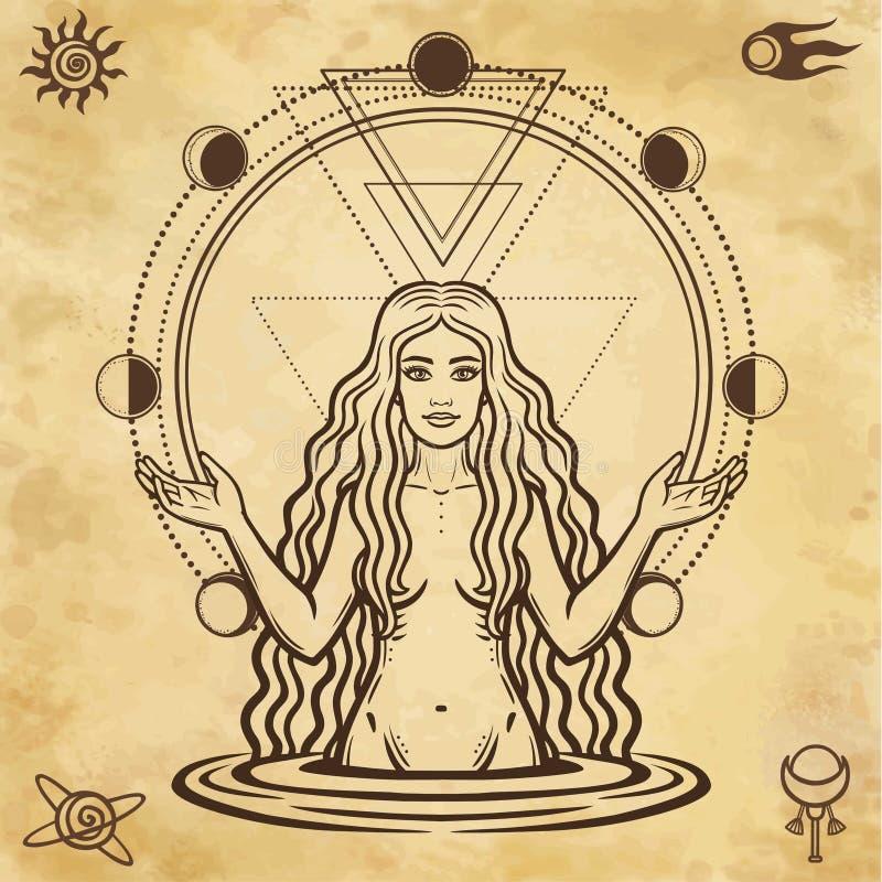 Mystische Zeichnung: die weibliche Göttin, Kreisphase des Mondes stock abbildung