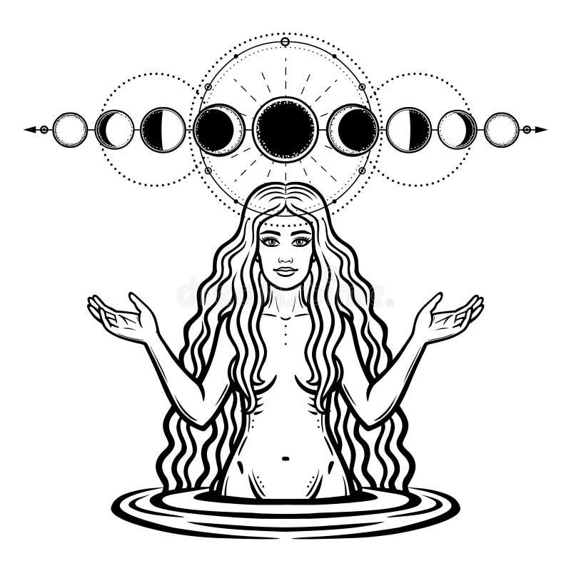 Mystische Zeichnung: die weibliche Göttin mit dem langen Haar Phase des Mondes stock abbildung