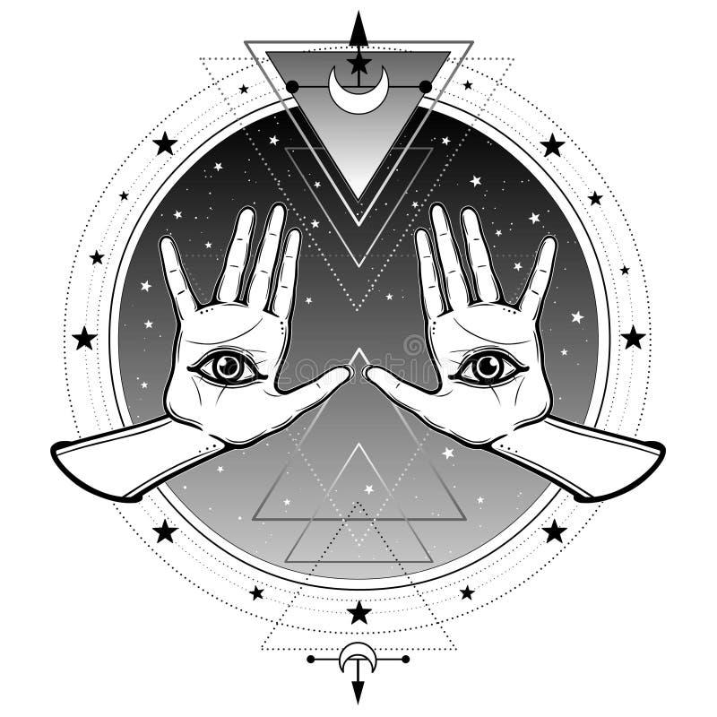 Mystische Zeichnung: menschliche H?nde haben ein Allwissenheitsauge stock abbildung