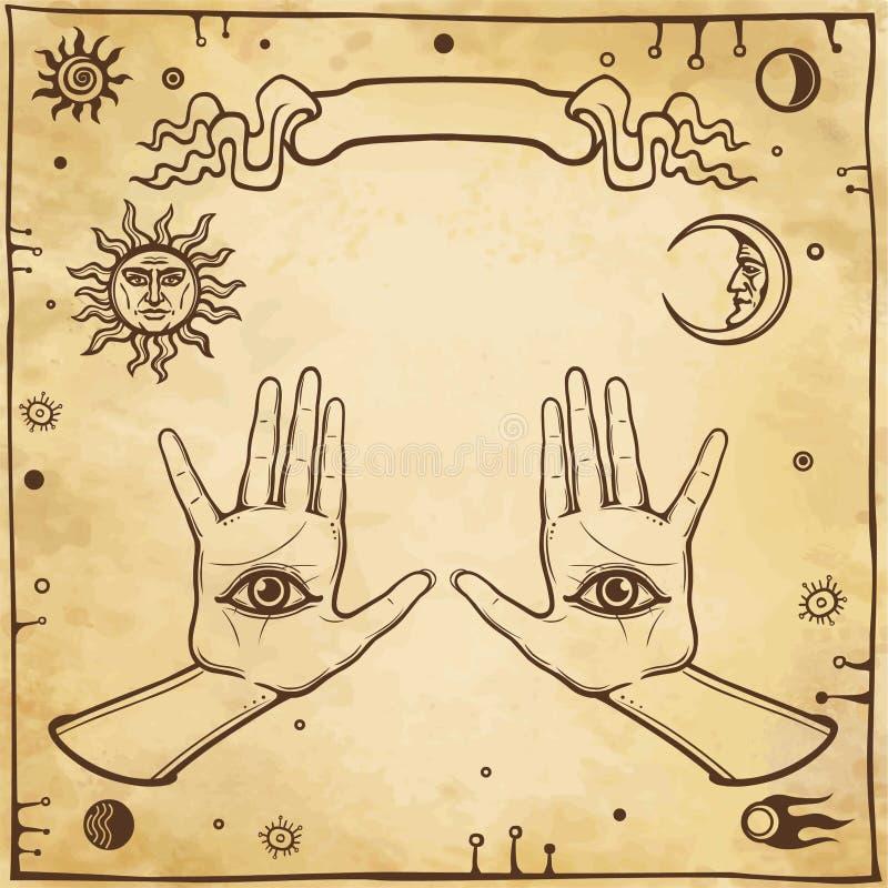 Mystische Zeichnung: menschliche H?nde haben ein Allwissenheitsauge vektor abbildung