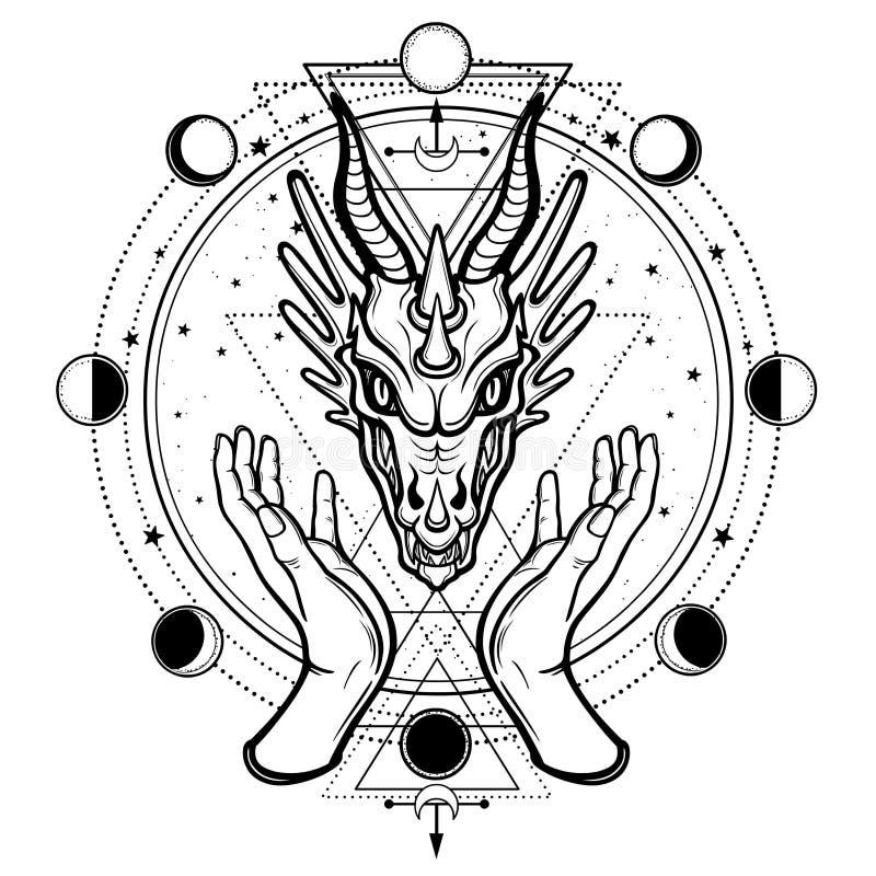 Mystische Zeichnung: menschliche H?nde halten den Kopf eines Drachen stock abbildung