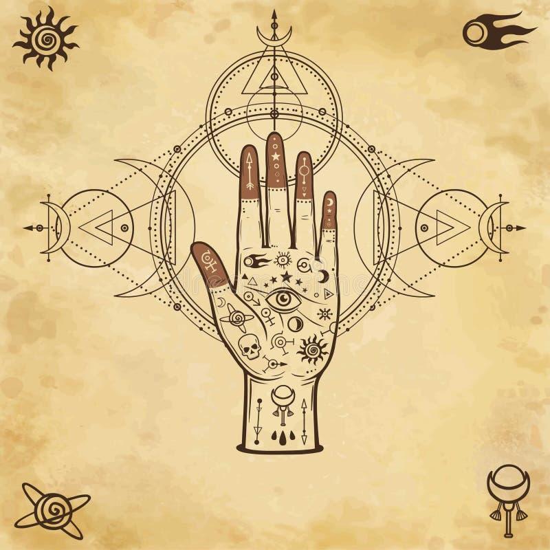 Mystische Zeichnung: menschliche Hand, heilige Geometrie, Allwissenheitsauge vektor abbildung