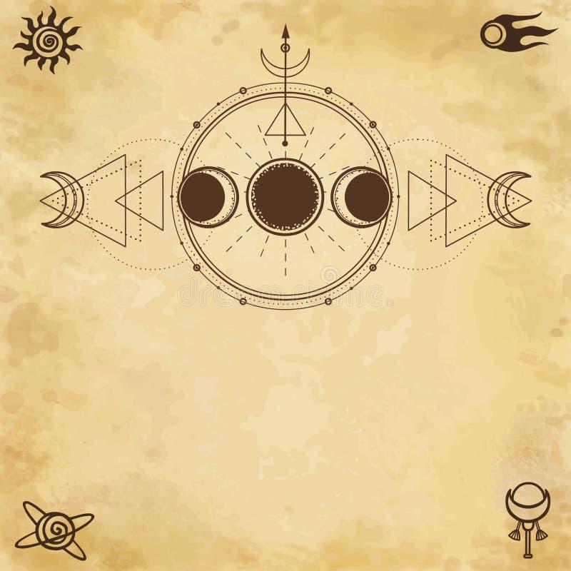 Mystische Zeichnung: Mondphasen, Energiekreise Heilige Geometrie vektor abbildung