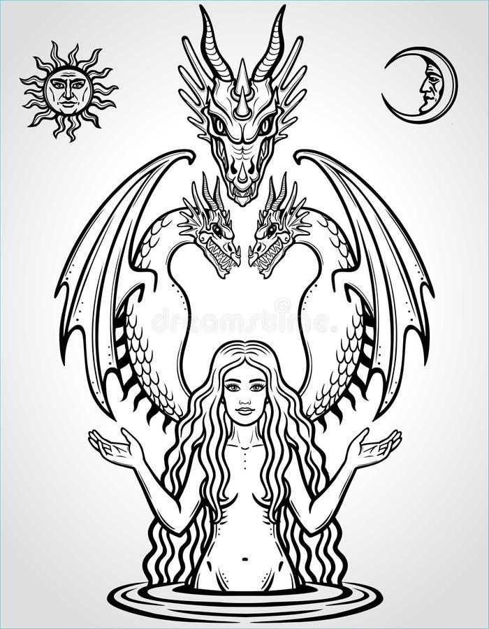 Mystische Zeichnung: schöne Göttin hält die Drachen vektor abbildung