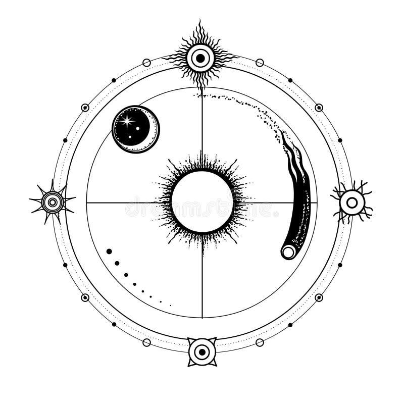 Mystische Zeichnung: stilisierte Sonne und Mond, Komet, energetische Kreise vektor abbildung