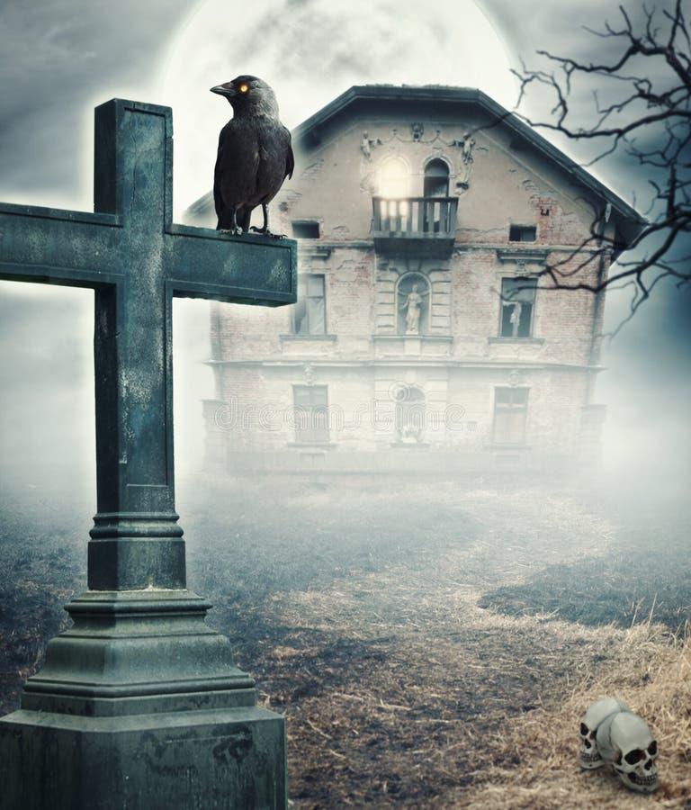 Mystischer gespenstischer Hintergrund Halloweens lizenzfreie stockfotos