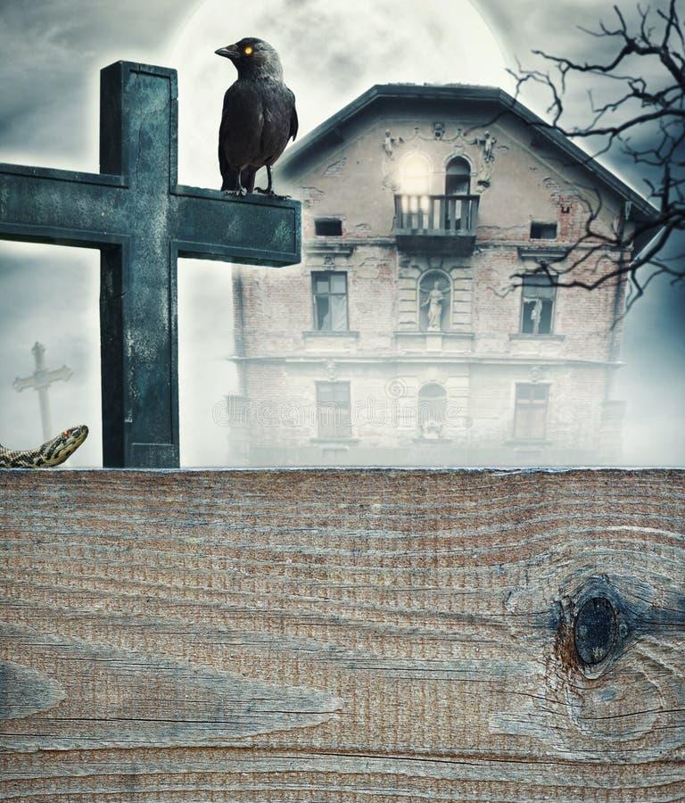 Mystischer gespenstischer Hintergrund Halloweens stockbilder