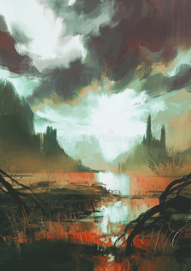 Mystischer roter Sumpf bei Sonnenuntergang stock abbildung