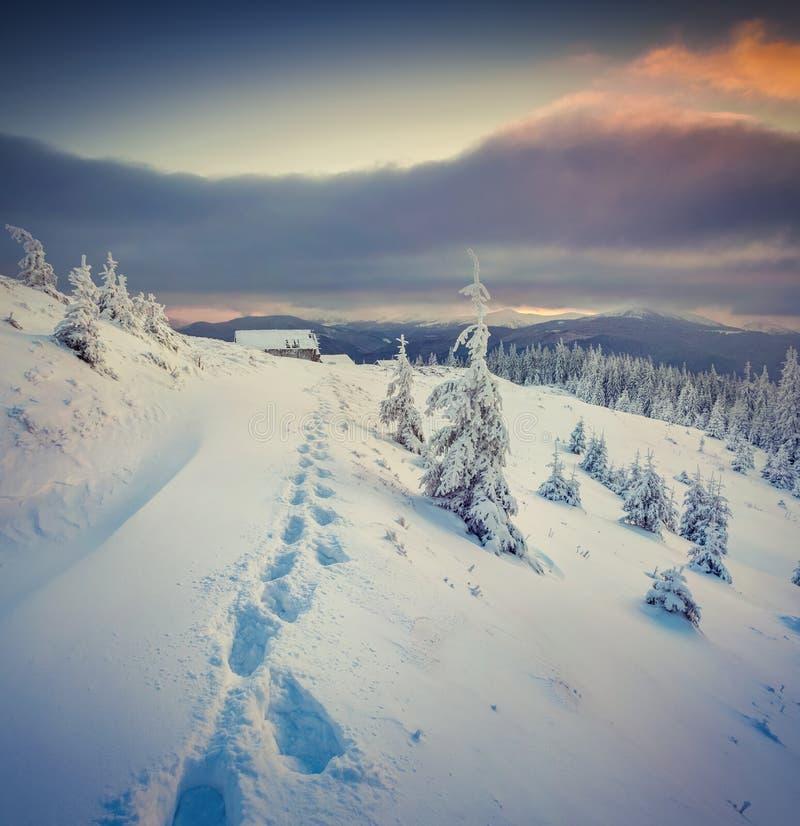 Mystischer Wintersonnenuntergang in den Bergen stockbild
