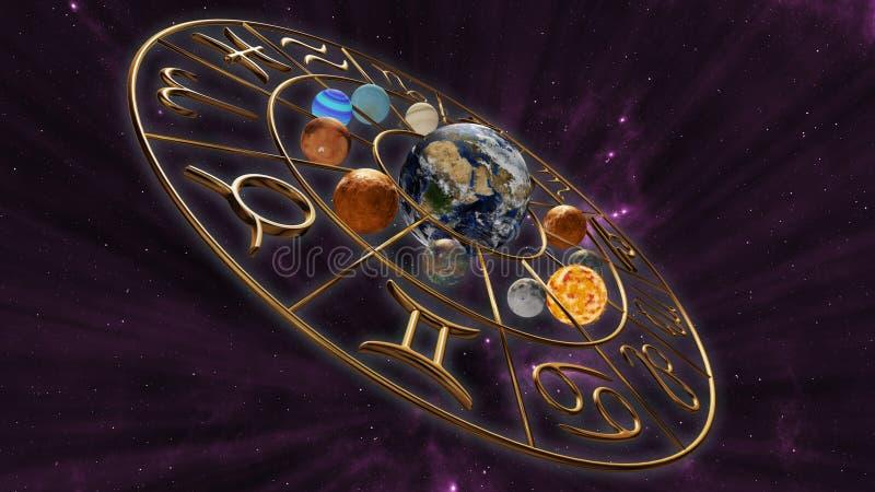 Mystisches Astrologietierkreis-Horoskopsymbol mit zwölf Planeten in der kosmischen Szene Wiedergabe 3d stock abbildung