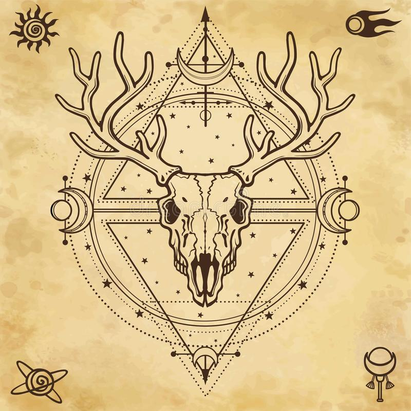 Mystisches Bild des Schädels ein gehörntes Rotwild, heilige Geometrie, Symbole des Mondes stock abbildung