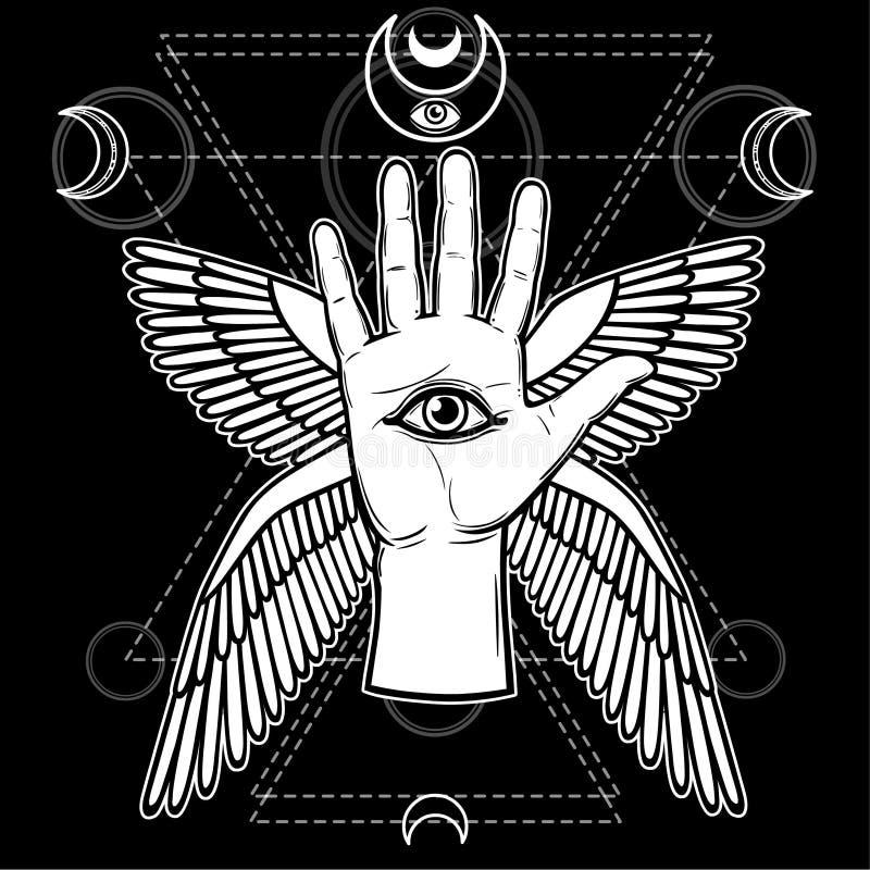 Mystisches Symbol: menschliche Hand, Auge von Providence, heilige Geometrie lizenzfreie abbildung