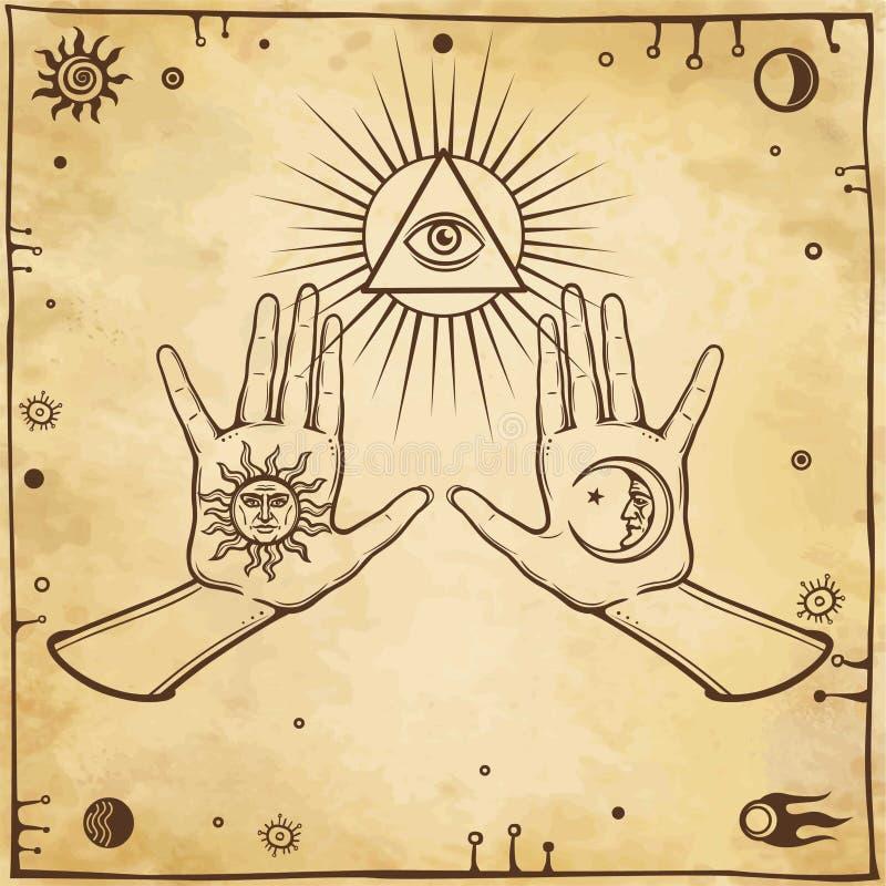 Mystisches Zeichnen - menschliche Hände halten Symbole der Sonne und des Mondes vektor abbildung