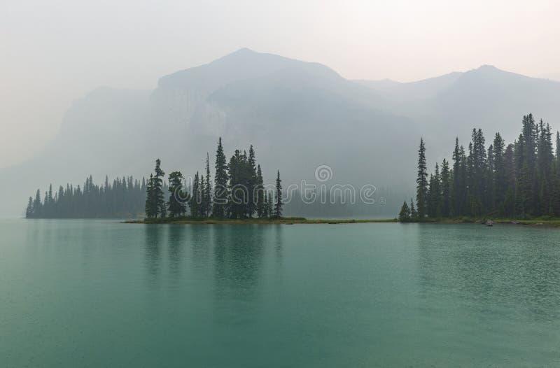 Mystisk andeö i dimman, Alberta, Kanada royaltyfria bilder