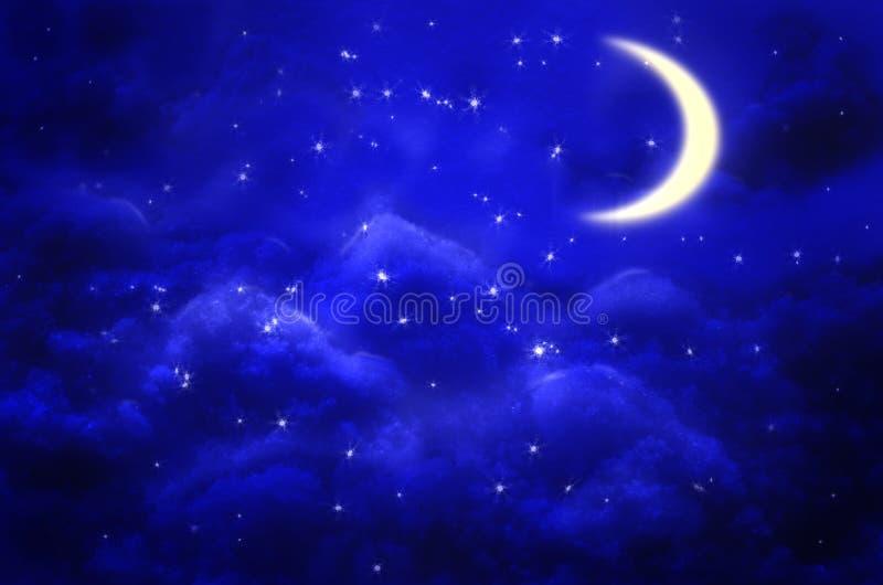 Mystisk bakgrund för natthimmel med halvmånen, moln och stjärnor månsken stock illustrationer