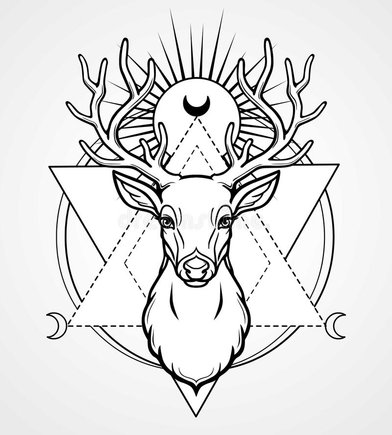 Mystisk bild av huvudet av en horned hjort, sakral geometri, symboler av månen stock illustrationer