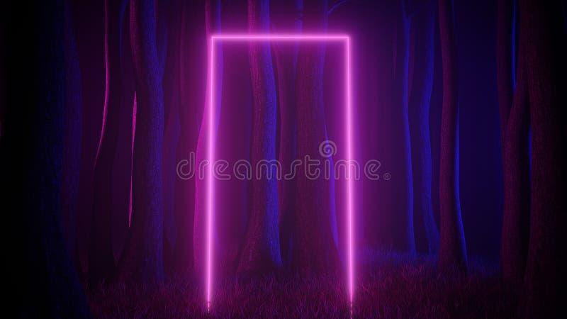 Mystisk dimmig skog i ultraviolett neonbelysning med den ljusa slingaportalen Mörk och mystisk plats 3d framf?r vektor illustrationer