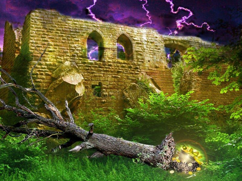 Mystisk guld- skatt under det rasade trädet som döljas i buskar bredvid den forntida slotten som avslöjs under blixtstorm stock illustrationer