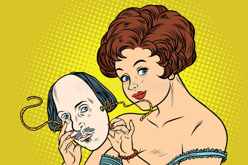 Mystisk härlig kvinna med en maskering av Shakespeare stock illustrationer