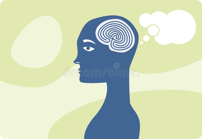 mystisk hjärnmanlig stock illustrationer
