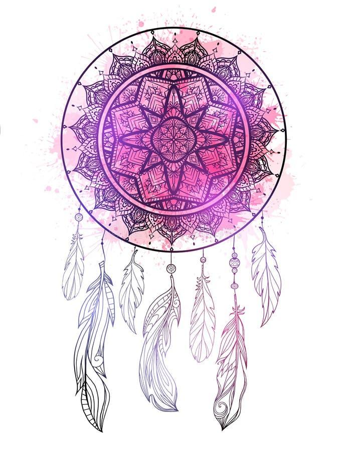 Mystisk illustration av en dreamcatcher med en bohotracerymodell, fjädrar med purpurfärgade vattenfärgfärgstänk på vit bakgrund royaltyfri illustrationer