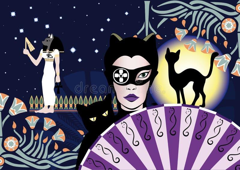 Mystisk kattkvinna stock illustrationer