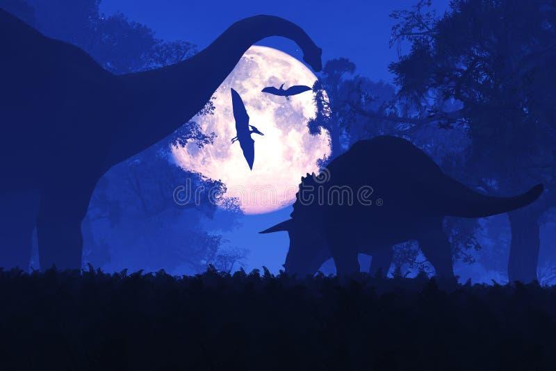Mystisk magisk förhistorisk fantasiskog på natten i fullmånen royaltyfri illustrationer