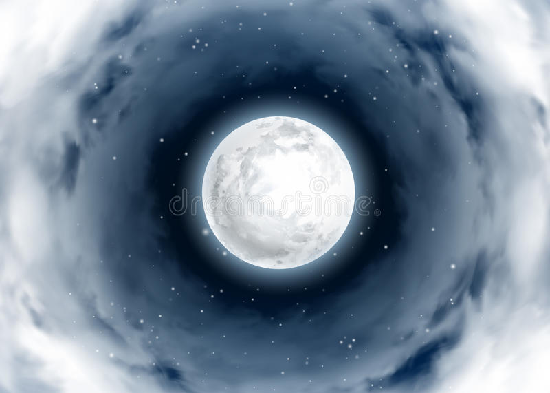 Mystisk natthimmel Virvel av moln runt om fullmånen vektor illustrationer