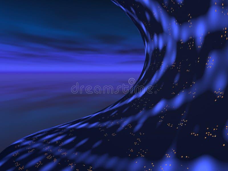 mystisk nattsky för stad royaltyfri illustrationer