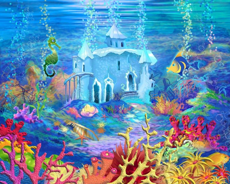 Mystisk och för fantasi Undersea värld Undervattens- slott stock illustrationer