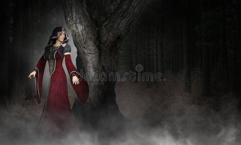 Mystisk overklig medeltida kvinna, skog vektor illustrationer