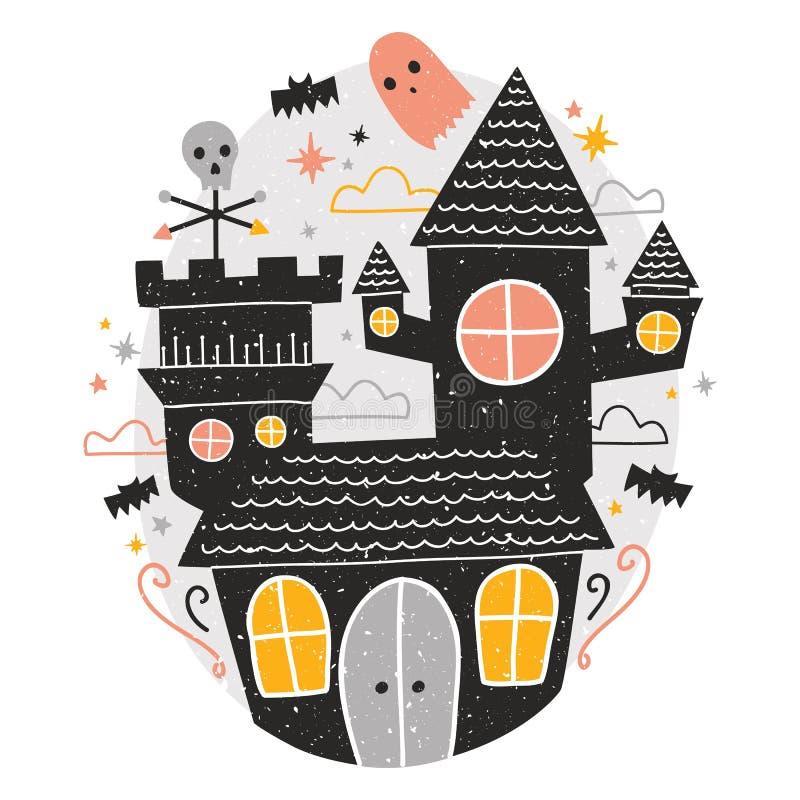 Mystisk spökad slott, gulliga roliga läskiga spökar och slagträflyg omkring mot himmel för stjärnklar natt på bakgrund kusligt vektor illustrationer