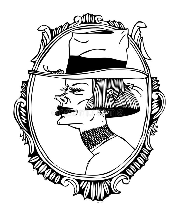 mystisk ståendekvinna Svartvit illustration på en affisch och på en T-tröja stock illustrationer