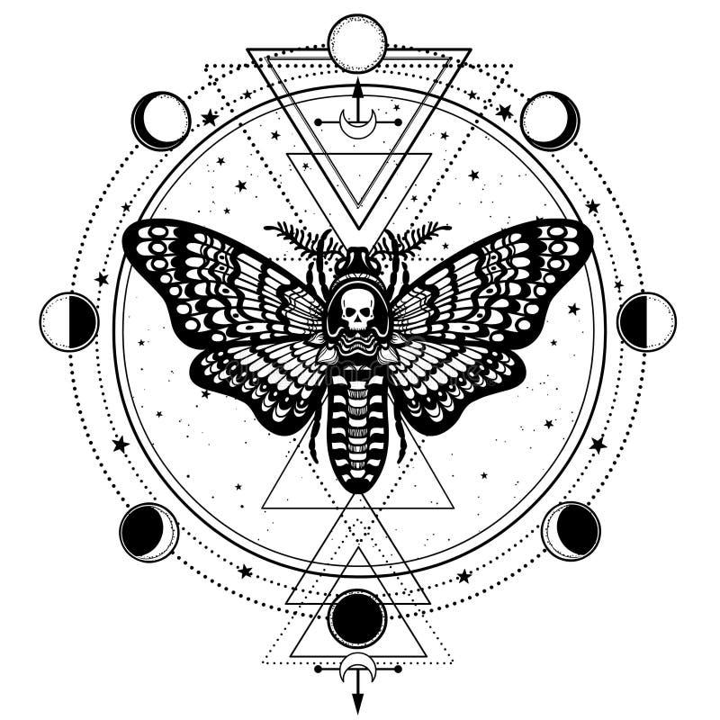 Mystisk teckning: Dött huvud för mal, cirkel av en fas av månen stock illustrationer