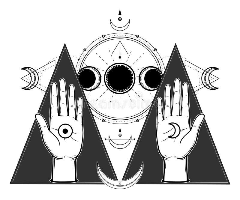 Mystisk teckning: mänskliga händer rymmer mån- symboler Faser av månen, energicirklar stock illustrationer