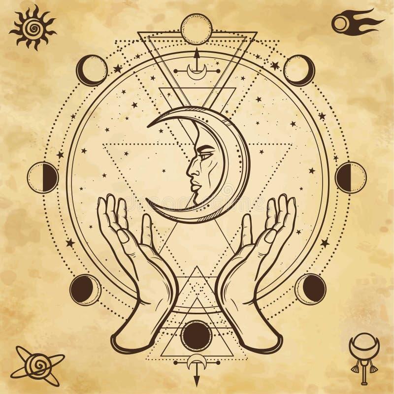 Mystisk teckning: mänskliga händer rymmer månen sakral geometri royaltyfri illustrationer